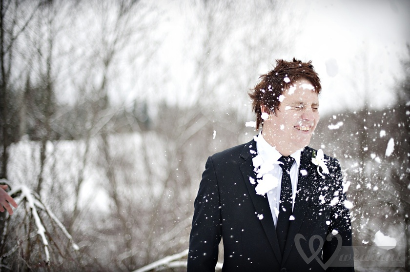 Winter fashion of the groom