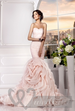 Pale-pink colored wedding dress #1