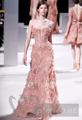 Tea rose colored wedding dress #1