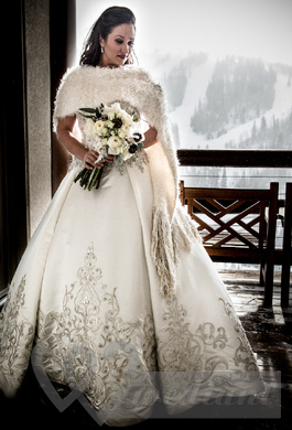 Wedding dress with fur cape