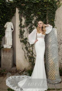 Provencal wedding dress with a train