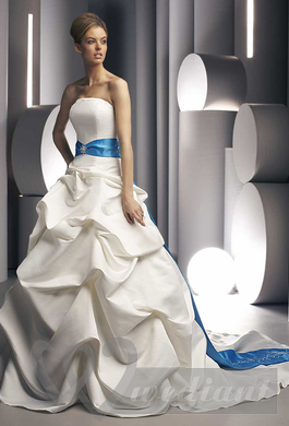 Wedding dress with blue belt