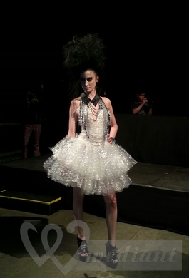 Bridal dress made from bubble wrappers