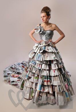 Bridal dress made from newspapers