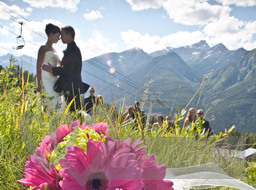 Wedding photo near mountains
