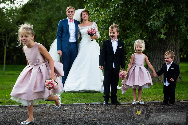 Couple and many children on a wedding