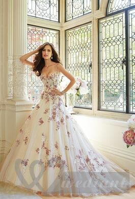 Bridal dress with colorful patterns