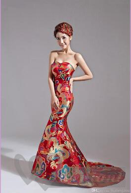 A colorful bridal dress